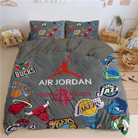 Basketball thème NBA Imprimé Parure de lit de Marque: 1 piece Housse de couette 1 piece Drap Housse Taie d'oreiller Velours de cristal Parure de ...