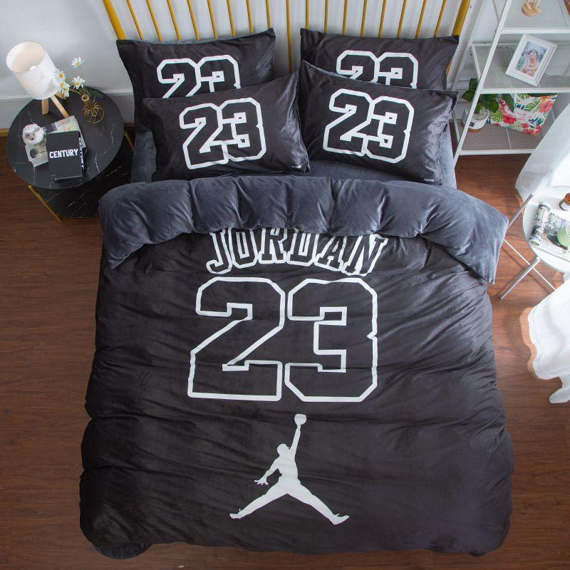 Basketball thème Jordan No.23 Imprimé Parure de lit de Marque: 1 piece Housse de couette 1 piece Drap plat Taie d'oreiller Velours de cristal ...