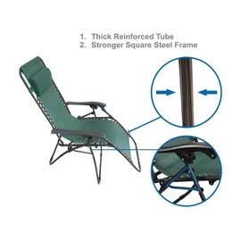 Pack de 2 165 x 112 x 65 cm Chaise Longue Inclinable Vert