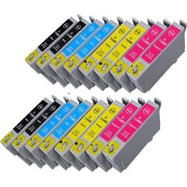 16 x cartouche d 39 encre avec puce compatible epson c13t07154010 c13t08954010 t0715 t0895 pour. Black Bedroom Furniture Sets. Home Design Ideas
