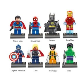 Lot de 8 Custom Lego Mini Figurines Super Heros Avengers Marvel Ideal Pour Noel