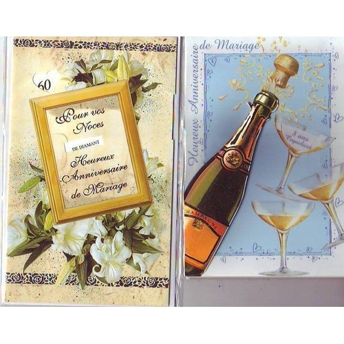 2 cartes anniversaire de mariage motif champagne en relief et fleurs carte postale a 2 volets. Black Bedroom Furniture Sets. Home Design Ideas