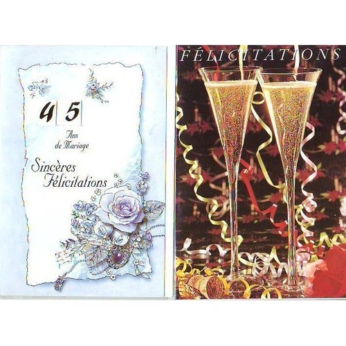 2 cartes felicitations et 45 ans de mariage motif coupe de champagne et fleurs. Black Bedroom Furniture Sets. Home Design Ideas