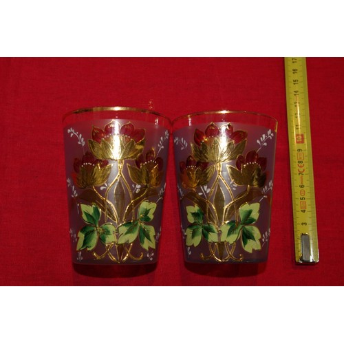 2 anciens grands verres gobelets en verre emaille de fleurs rakuten. Black Bedroom Furniture Sets. Home Design Ideas