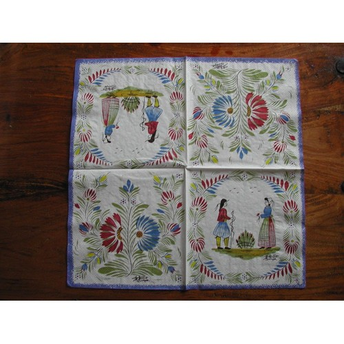 2 serviettes en papier motifs bretons hb henriot quimper signature - Serviette en papier motif ...