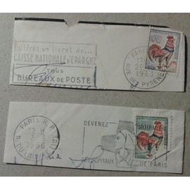 2 Timbres France 1962 1965 Yvert Et Tellier N 1331 1331a Coq Decaris