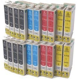 Lot De 20 Cartouches Compatibles Epson: 8 Noir T0711 + 4 Cyan T0712 + 4 Magenta T0713 + 4 Yellow T0714 - Pour D78 D92 D120 Dx4000 Dx4050 Dx4400 Dx4450 Dx5000 Dx5050 Dx6000 Dx6050 Dx7000f Dx7400 Dx7450 Dx84