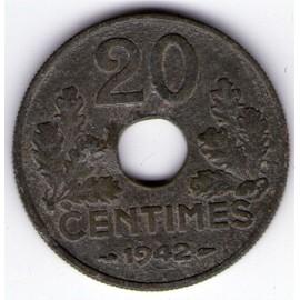 20 Centimes Etat Francais 1942 Tb - H12