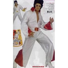 Costume Deguisement King Elvis Presley Combinaison Et Ceinture Jaune Ou Rouge Taille 40/42