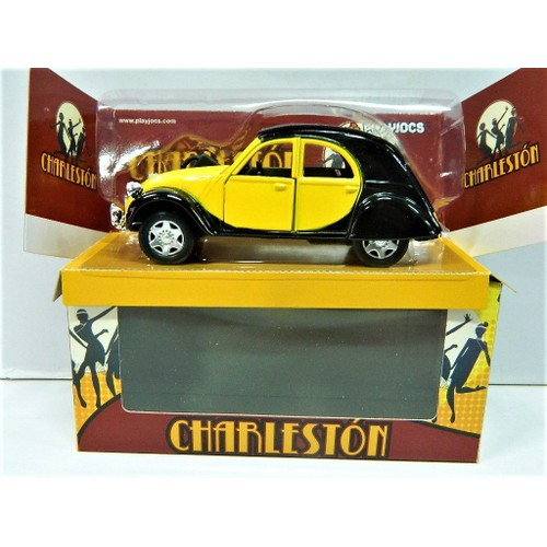 2cv citro n charleston voiture miniature m tal jaune et noire. Black Bedroom Furniture Sets. Home Design Ideas