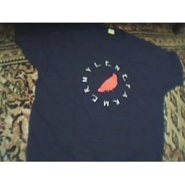 tee shirt noir avec corbeau rouge (l'Autre)manches courtes
