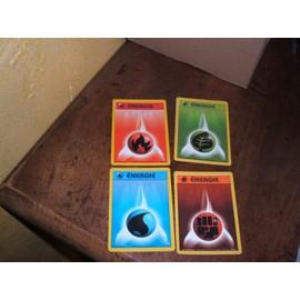 4 Cartes Energie Pokemon - �nergie Feu, Plante, Eau, Combat
