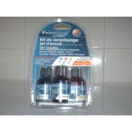 Printline Plrk002 - Kit De Remplissage Jet D Encre - Couleurs Cyan, Magenta, Jaune - 3 X 30 Ml