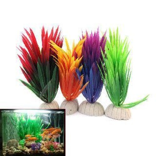 4x color plante artificielle en plastique aquarium for Decoration jardin colore