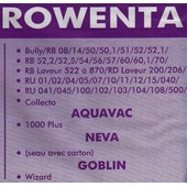 Lot de 5 sacs aspirateur Ref 5379 ROWENTA Bully, Serie RB , RD, RU - AQUAVAC 1000 plus