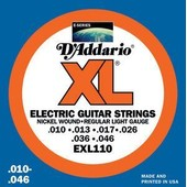 D'addario Xl Exl110 Regular Light - Cordes Guitare �lectrique - Tirant 10-46 - Fil� Rond Nickel