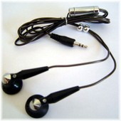 Ecouteurs st�r�o oreillettes noirs jack 2.5 mm pour baladeur MP4/MP3 mod�le PMP COLOR MV 400