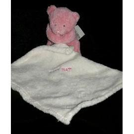 Babynat Baby Nat Ours Rose Mouchoir Doudou Peluche