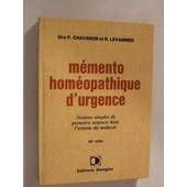 Memento Homeopathique D Urgence de chavanon