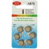 Piles Auditives AZA675 BLEU (PR44 Comparable a: DA675, AC675, PR675H, ZA 675, HA675, V675, V675HP ) 1,4V Piles Zinc Air Blister de 6 piles pour appareils auditifs