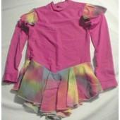 Tenue De Patinage Artistique Manches Longues Lycra Rose Et Multicolore 8 Ans