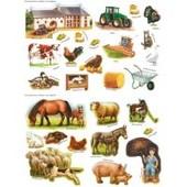 6 Planches De Gommettes/Stickers Ferme Edition Fleurus