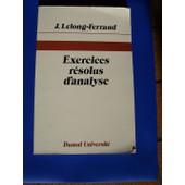 Exercices R�solus D'analyse de Lelong-Ferrand