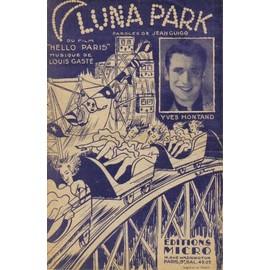 Yves Montand - LUNA PARK - partition originale feuillet ouvrant 2 pages