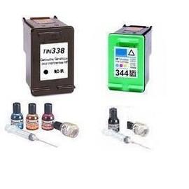Pack De 2 Cartouches Compatibles Hp 338 + 343 (C8765ae + C8766ae) - 1 X Noir, 1 X Couleur, Kit De Remplissage