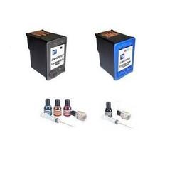 Pack De 2 Cartouches Compatibles Hp 27 + 28 (C8727ae + C8728ae) - 1 X Noir, 1 X Couleur, Kit De Remplissage