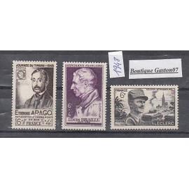 France 1948 : Louis Braille, Etienne Arago et Général Leclerc..yvert & Tellier n°793, 794 et 815...3 Valeurs Neuves...