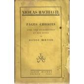 Pages Choisies Avec Une Introduction Et Des Notes Nicolas Machiavel de Mortier Alfred