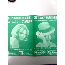"""Partitions """"On t'avait prévenue"""" + """"Le premier chagrin d'amour"""" (France Gall)"""