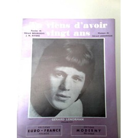 """Partitions """"Tu viens d'avoir vingt ans"""" (Gérard Lenorman)"""