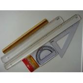 Kit De Tra�age - Regle Plastique 50 Cm - 1 Regle Plastique 40 Cm - 1 Equerre - 1 Rapporteur En Plastique Transparent