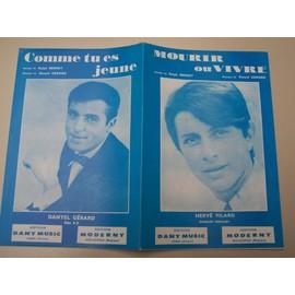 """Partition """"Mourir ou Vivre (Hervé Vilard) + """"Comme tu es jeune"""" (Danyel Gérard)"""
