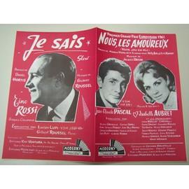 """Partition """"Nous, les amoureux"""" (Jean-Claude Pascal) EUROVISION 1961 + """"Je sais"""" (Tino Rossi)"""