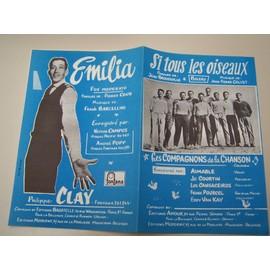 """Partition """"Si tous les oiseaux"""" (Compagnons de la chanson) + """"Emilia"""" (Philippe Clay)"""