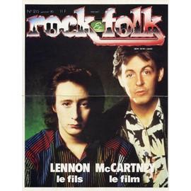 PAUL McCARTNEY JULIAN LENNON plv cartonnée ROCK & FOLK. 1985.