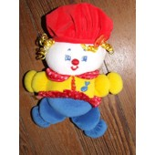 Clown Poupee Bonhomme Doudou Musical Fisher Price Rouge Jaune Bleu Peluche 23 Cms