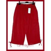 Pantacourt 100% Lin Fabrication Italienne Tailles M(38) L(40) Xl(42) Xxl(44) Beige Bleu Noir Blanc Ecru Marron Rouge Gris Taupe Pantalon Sarouel
