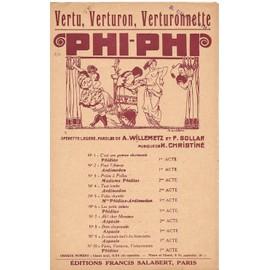 Vertu, Verturon, Verturonnette - Opérette Phi Phi - Chant seul - 1919