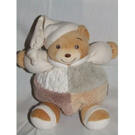Ours Boule Sable Kaloo Marron Beige Blanc Gris Peluche 20 Cms + Bonnet 16 Cms