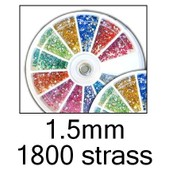 Nail Art - Boite Carrousel Distributeur - 1800 Strass Glitter 1.5mm 12 Couleurs - Pour Ongles ( Naturels Ou Faux ) - Accessoire Manucure