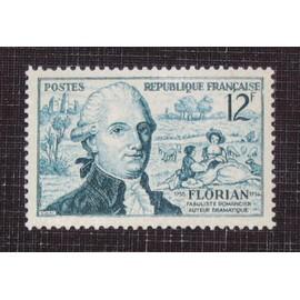 FRANCE N° 1021 neuf sans charnière de 1955 - 12f bleu-vert bicentenaire de la naissance du fabuliste Jean-Pierre Claris de Florian