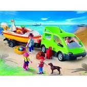 Playmobil 4144 - Voiture Familiale Avec Remorque Porte-Bateaux