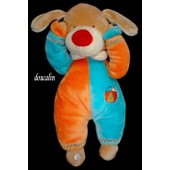 Doudou Peluche Chien Lascar Orange Bleu Marron �cru Ballon Ourson Brod�s