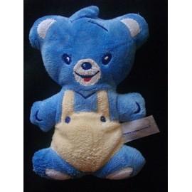 Doudou Ours B�b� Nestl� Peluche Grelot Bleu Beige 17 Cm