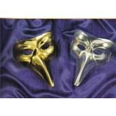 Masque Dur V�nitien Adulte Long Nez 20 X 30 Cm Deguisement Loup Noir , Blanc , Rouge , Or Ou Argent