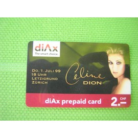 CARTE TELEPHONIQUE SUISSE DE CELINE DION 1999
